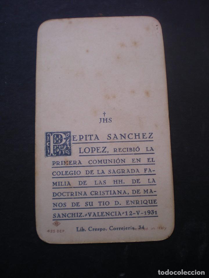 Postales: ESTAMPA RELIGIOSA, RECORDATORIO PRIMERA COMUNION, VALENCIA, 1931 - Foto 2 - 71863243