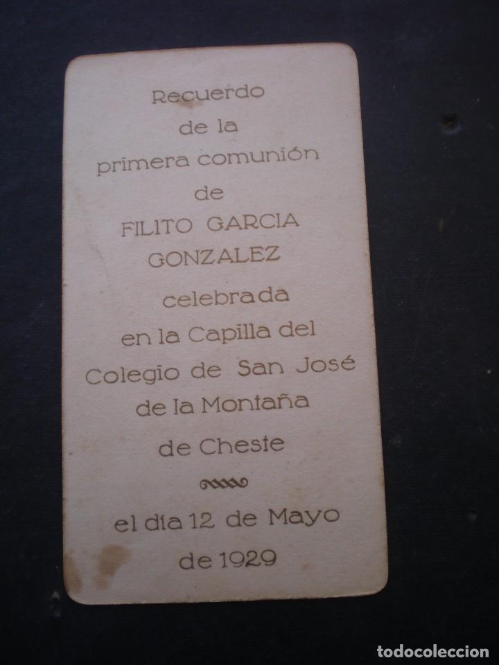 Postales: ESTAMPA RELIGIOSA, RECORDATORIO PRIMERA COMUNION, CHESTE, 1929, VALENCIA - Foto 2 - 71863763