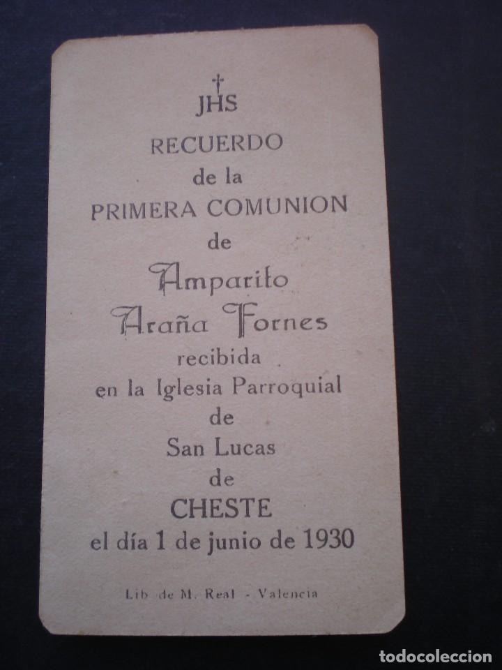 Postales: ESTAMPA RELIGIOSA, RECORDATORIO PRIMERA COMUNION, CHESTE, 1930, VALENCIA - Foto 2 - 71863867