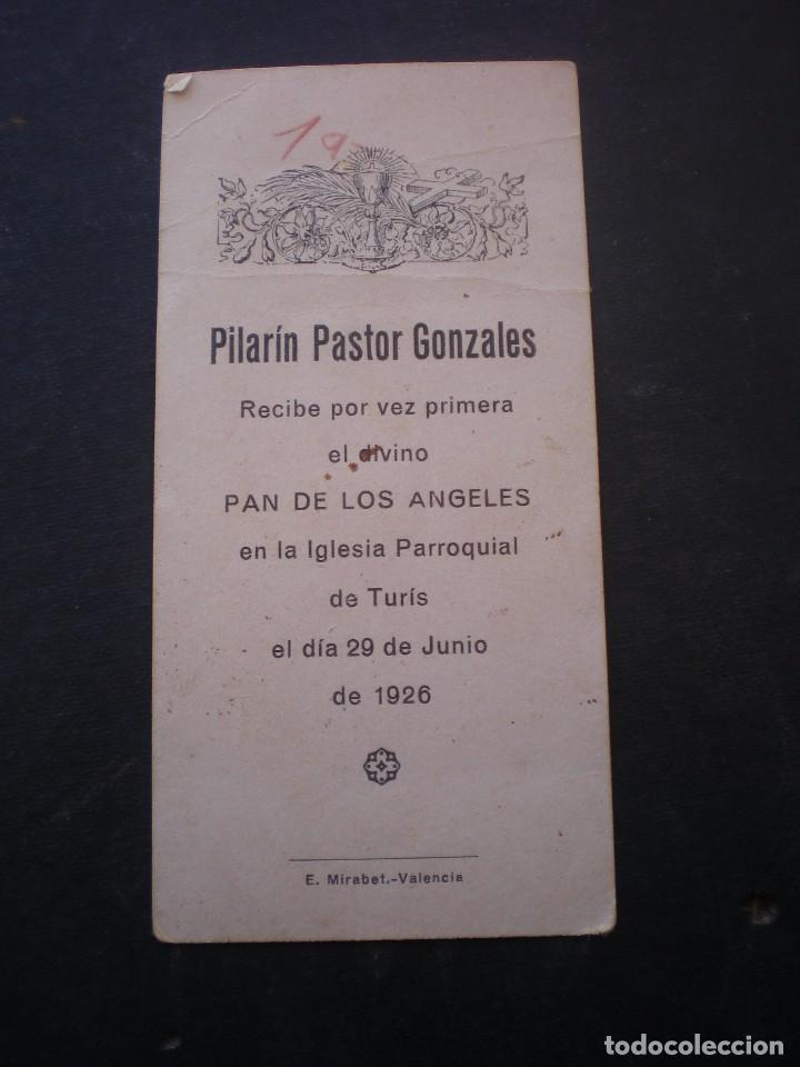 Postales: ESTAMPA RELIGIOSA, RECORDATORIO PRIMERA COMUNION, TURIS, 1926, VALENCIA - Foto 2 - 71863903