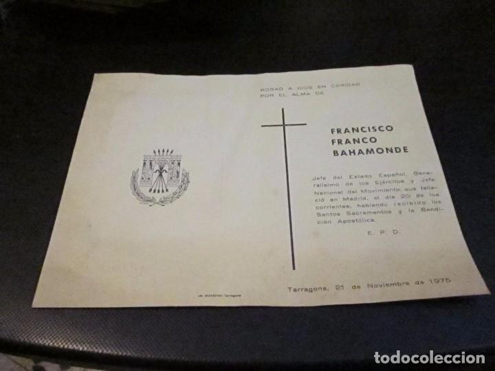 ESQUELA MORTUORIA DE FRANCISCO FRANCO BAHAMONDE, TARRAGONA 21 DICIEMBRE 1975 (Postales - Postales Temáticas - Religiosas y Recordatorios)