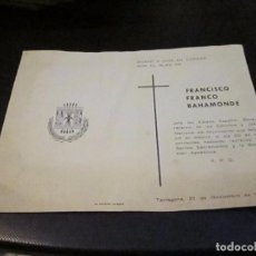 Postales: ESQUELA MORTUORIA DE FRANCISCO FRANCO BAHAMONDE, TARRAGONA 21 DICIEMBRE 1975. Lote 73051523