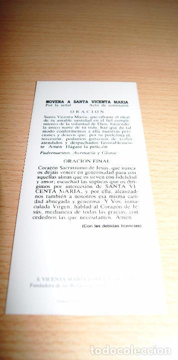 Postales: Estampa religiosa. Novena a Santa Vicenta María. S. Vicenta María Lopez y Vicuña. - Foto 2 - 73453295