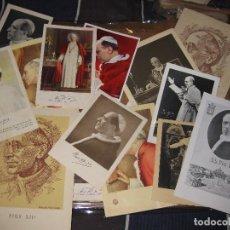 Postales: ANTIGUAS 17 RECORDATORIOS ESTAMPAS ESTAMPA PIO X Y PIO XII . 2 DE ELLAS CON RELICARIO . Lote 75159275