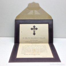 Postales: SOBRE RECORDATORIO DEFUNCIO 1918 MANRESA A PRATS DE LLUSANES. Lote 75636031