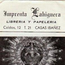 Postales: ESTAMPA NTRA. SRA. DE LA CABEZA, PATRONA CASAS IBAÑEZ, ALBACETE. IMPRENTA LAHIGUERA, LIBRERÍA.. Lote 76876755