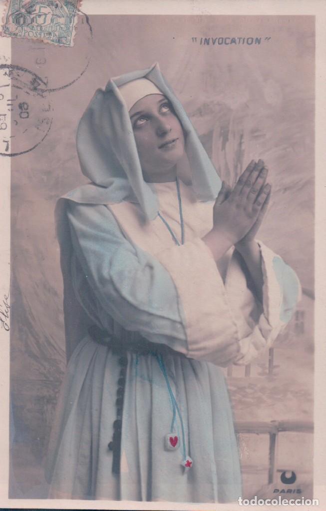 POSTAL MONJA INVOCATION - CIRCULADA 1906 (Postales - Postales Temáticas - Religiosas y Recordatorios)