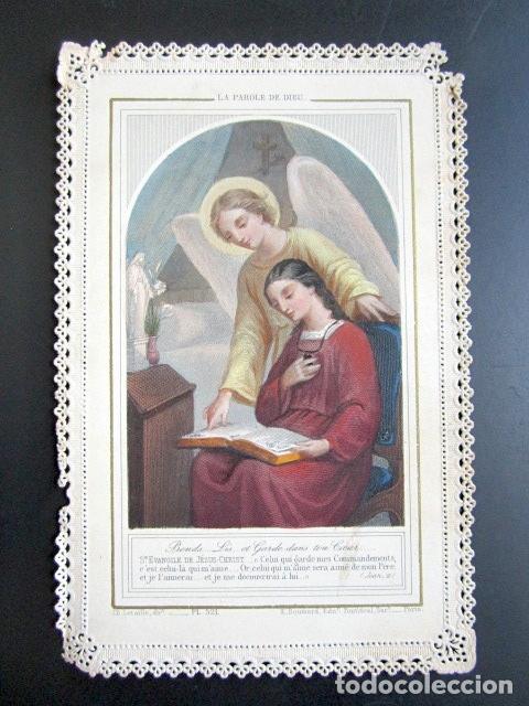 ANTIGUA ESTAMPA TROQUELADA LA PALABRA DE DIOS. (Postales - Postales Temáticas - Religiosas y Recordatorios)