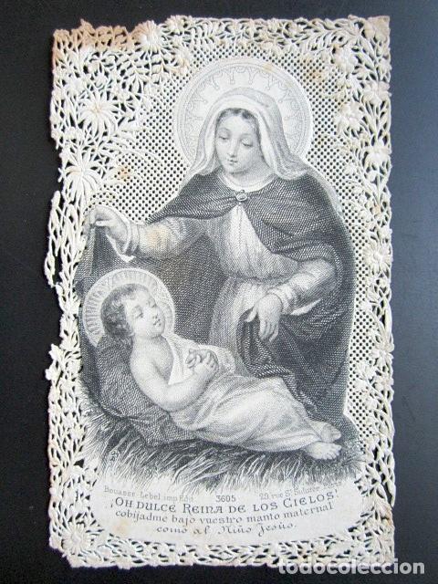 ANTIGUA ESTAMPA TROQUELADA OH DULCE REINA DE LOS CIELOS. (Postales - Postales Temáticas - Religiosas y Recordatorios)