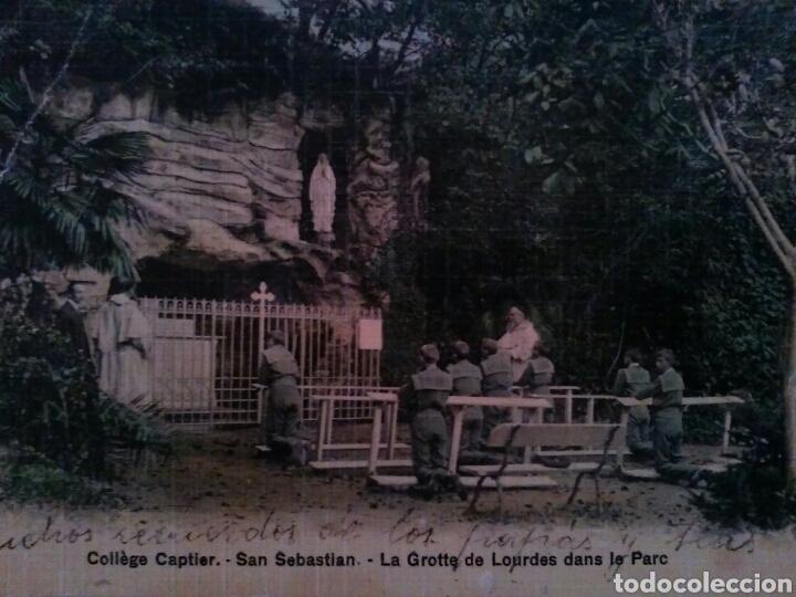 POSTAL COLEGIO CAPTIER - SAN SEBASTIAN - GRUTA DE LOURDES Y PARQUE (Postales - Postales Temáticas - Religiosas y Recordatorios)