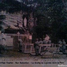 Postales: POSTAL COLEGIO CAPTIER - SAN SEBASTIAN - GRUTA DE LOURDES Y PARQUE. Lote 80885800