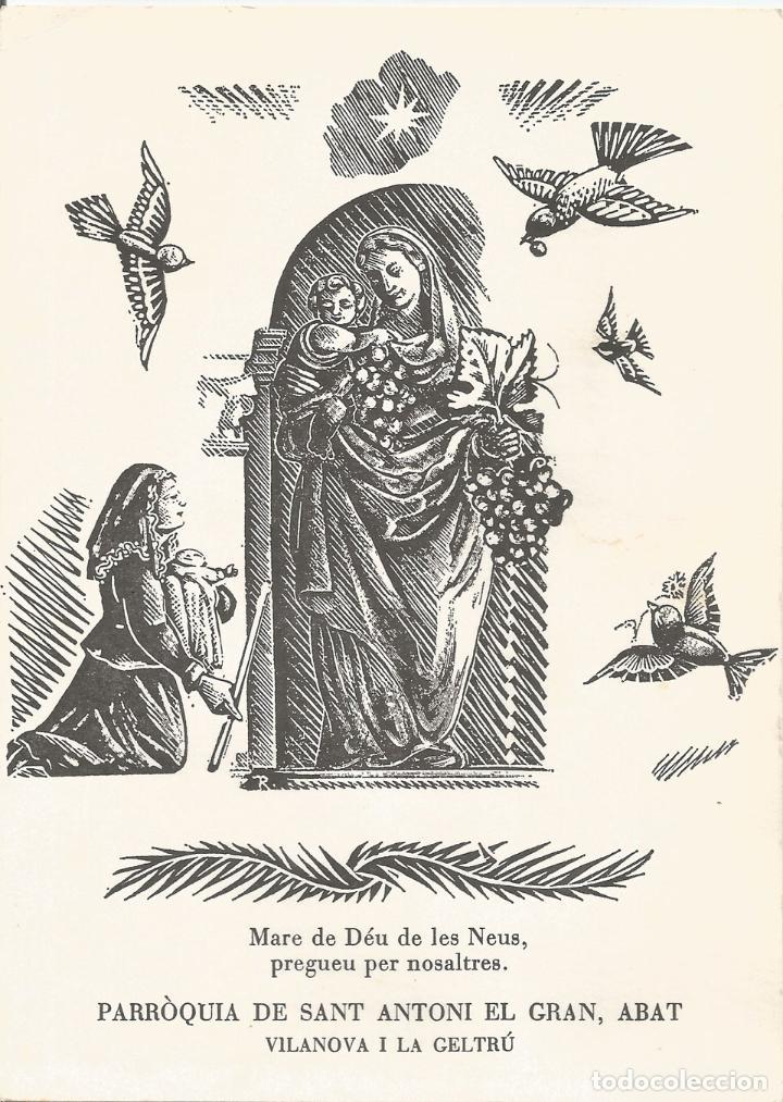 ESTAMPA MARE DE DÉU DE LES NEUS VILANOVA I LA GELTRÚ - GRAVAT AL BOIX D'E.C.RICART (Postales - Postales Temáticas - Religiosas y Recordatorios)