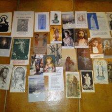 Postales: LOTE 34 ESTAMPAS RECORDATORIOS FOLLETOS RELIGIOSOS VARIOS AÑOS. Lote 82975948