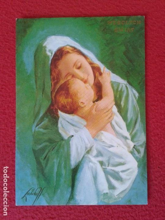 POSTAL POST CARD POSTCARD VIRGIN VIRGEN ? A IDENTIFICAR WESOLYCH SWIAT POLSKA ? MUJER NIÑO POLONIA ? (Postales - Postales Temáticas - Religiosas y Recordatorios)
