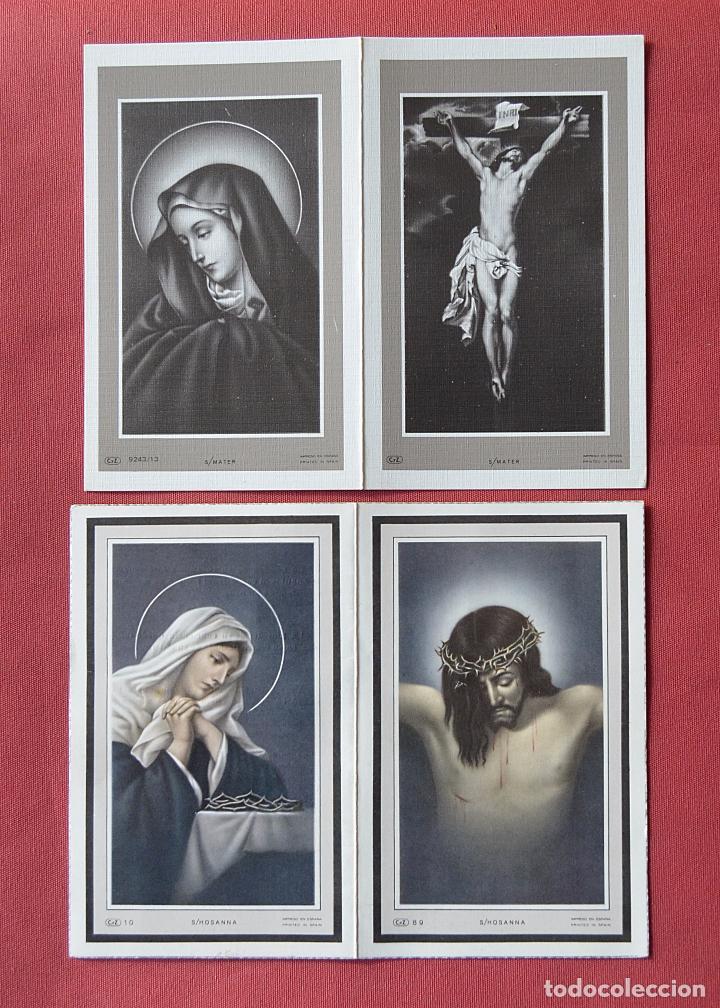 2 RECORDATORIOS DE DEFUNCION - DIPTICOS - CRUCIFIJO - VIRGEN (Postales - Postales Temáticas - Religiosas y Recordatorios)
