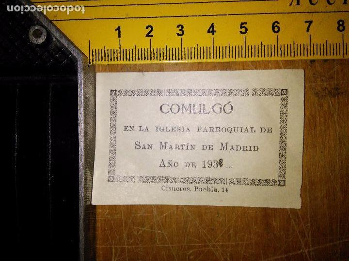 PAPELETA DE COMULGO IGLESIA PARROQUIAL SAN MARTIN DE MADRID 1932 (Postales - Postales Temáticas - Religiosas y Recordatorios)