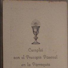 Postales - ANTIGUA ESTAMPA CUMPLIMIENTO PASCUAL.PARROQUIA NTRA.SRA.PURIFICACION DE FUENTES DE BEJAR.1934 - 86396464
