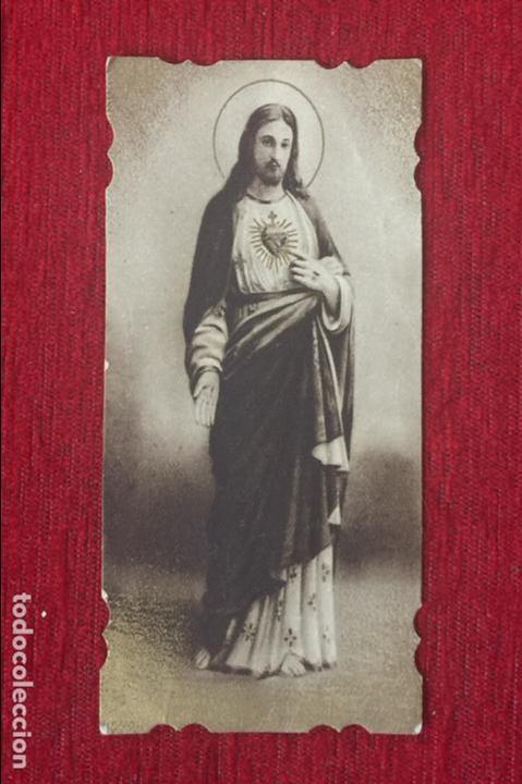 ESTAMPA RELIGIOSA TROQUELADA DEL SAGRADO CORAZÓN DE JESÚS. (Postales - Postales Temáticas - Religiosas y Recordatorios)