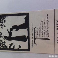 Postales: PAZ Y BIEN-BENDICION DE SAN FRANCISCO--ESTAMPA RELIGIOSA ORACION. Lote 86660488