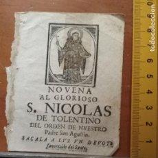 Postales: ESTAMPA PORTADA DE NOVENA GRABADO MUY ANTIGUO SAN NICOLAS DE TOLENTINO . Lote 88104160