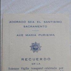 Postales: RECUERDO SOLEMNE VIGILIA,ADORACION NOCTURNA.SANLUCAR LA MAYOR.SEVILLA.1953. Lote 89345696