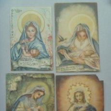 Postales: LOTE DE 4 ESTAMPAS RELIGIOSAS DE LA VIRGEN MARIA . AÑOS 50. Lote 89410516