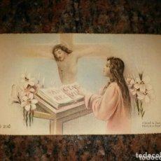 Postales: ESTAMPA RELIGIOSA RECUERDO PRIMERA MISA DE D. JESÚS RAMOS ROMEO. CAP. HNOS. MARISTAS ZARAGOZA . Lote 92908065