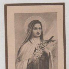Postales: ESTAMPA DE SANTA TERESA DEL NIÑO JESÚS CON RELIQUIA. 12 X 7 CM. Lote 201837035