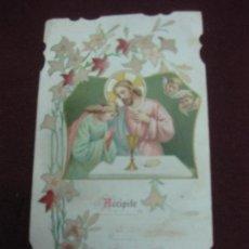 Postales: ANTIGUA ESTAMPA RELIGIOSA MODERNISTA. ACCIPITE DOC EST CORPUS MEUM.. Lote 95340327