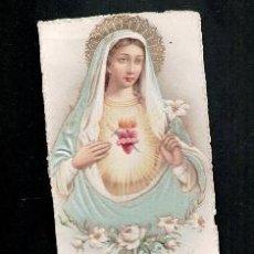 Postales: ESTAMPA SANTÍSIMO CORAZÓN DE MARÍA. RELIEVE Y SEDA.. Lote 98670387