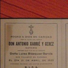 Postales: RECUERDO FUNERAL.DON ANTONIO XARRIE Y GEREZ.NOTARIO.PARADAS.SEVILLA.1935. Lote 98816595