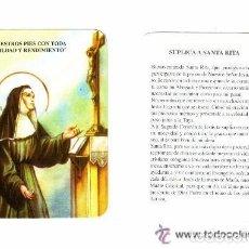 Cartes Postales: -51311 ESTAMPA RELIGIOSA, SUPLICA A SANTA RITA , CON ORACION. Lote 100576863