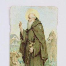 Postales: ANTIGUA ESTAMPA RELIGIOSA - LITOGRAFIADA Y TROQUELADA - SAN ANTONIO ABAD - PRINCIPIOS SIGLO XX. Lote 102594391
