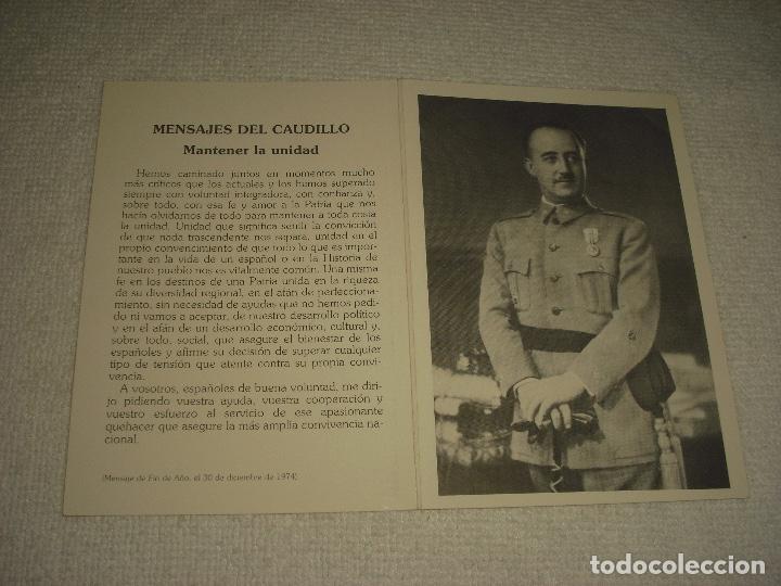 RECORDATORIO EN EL XVII ANIVERSARIO DE LA MUERTE FRANCO . FUNDACION NACIONAL F. FRANCO 1922 (Postales - Postales Temáticas - Religiosas y Recordatorios)