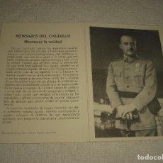 Postales: RECORDATORIO EN EL XVII ANIVERSARIO DE LA MUERTE FRANCO . FUNDACION NACIONAL F. FRANCO 1922. Lote 103279367