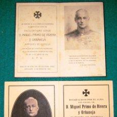 Postales: 2 RECORDATORIOS DE D. MIGUEL PRIMO DE RIVERA. 1931 Y 1942. Lote 103303711