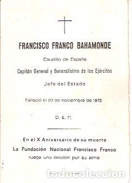 Postales: D E P FRANCISCO FRANCO BAHAMONDE FUNDACION NACIONAL FRANCISCO FRANCO AÑO 1975 - Foto 2 - 103684527