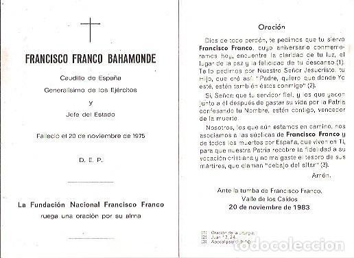 Postales: D E P FRANCISCO FRANCO BAHAMONDE FUNDACION NACIONAL FRANCISCO FRANCO AÑO 1983 - Foto 2 - 103684591