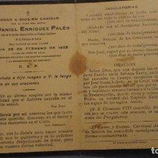 Cartes Postales: RECUERDO FUNERAL.D.DANIEL ENRIQUEZ PALES.JEFE SECCION PRIMERA ENSEÑANZA.SEVILLA.1925. Lote 105855611