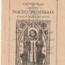 Postales: ESTAMPA DEVOCION Y PRACTICA FRANCISCANA AÑO NUEVO 1917 VALENCIA - C-35. Lote 107800911