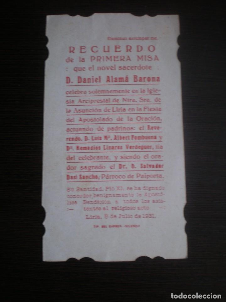Postales: ESTAMPA RELIGIOSA O RECORDATORIO, ESTILO MODERNISTA, LIRIA, 1931 - Foto 2 - 108679915