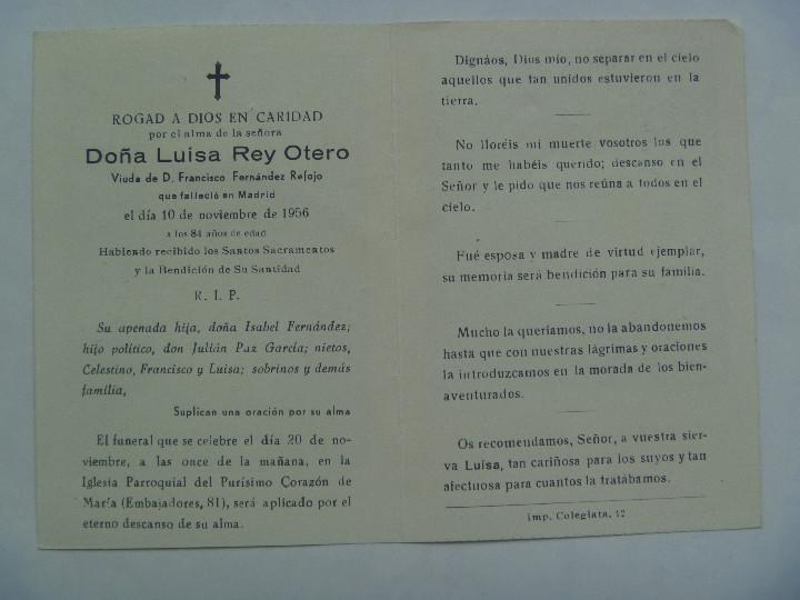 Postales: RECORDATORIO DE SEÑORA FALLECIDA EN MADRID EN 1956 - Foto 2 - 109290355