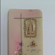 Postales: LOTE DE 2 PEQUEÑOS RECORDATORIOS RELIGIOSOS DE CELUOIDE. REALIZADOS Y PINTADOS A MANO.. Lote 109437943