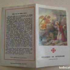 Postales: ESTAMPA DE RECUERDO DE GETSEMANI ( JERUSALEM ) , CON HOJA DE OLIVO.. Lote 110079687