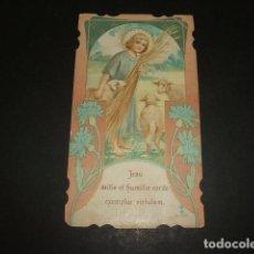 Postales: NIÑO JESUS BUEN PASTOR ESTAMPA CROMOLITOGRAFICA SIGLO XIX. Lote 110319791