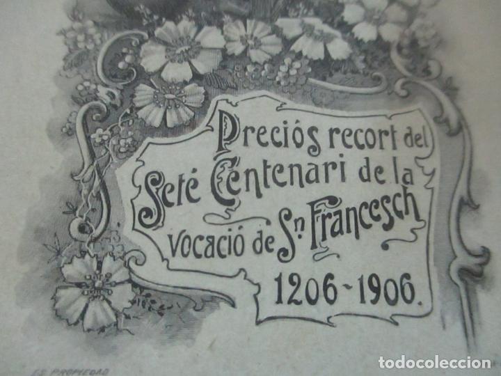 Postales: Preciosa Estampa Recuerdo - Seté Centenari de la Vocacio de Sant Francesch 1206-1906 - Foto 2 - 112961719