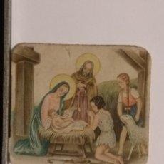 Postales: ANTIGUO CROMO ORIGINAL TROQUELADO, RELIGIOSO INFANTIL NACIMIENTO BELEN NIÑO JESUS VIRGEN. Lote 112967011