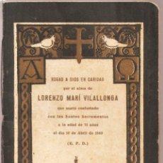 Postales: RECORDATORIO DIFUNTOS AÑO 1940. CON LIBRITO MISA DE DIFUNTO. TAMAÑO POSTAL.. . VELL I BELL.. Lote 113951635