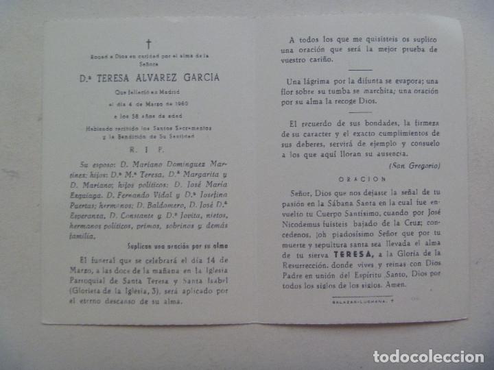 Postales: RECORDATORIO DE SEÑORA FALLECIDA EN MADRID EN 1960 - Foto 2 - 114025835