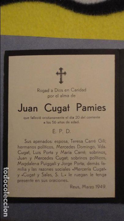 RECUERDO FUNERAL.JUAN CUGAT PAMIES.REUS.TARRAGONA 1949 (Postales - Postales Temáticas - Religiosas y Recordatorios)